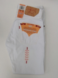 Levis 501 dyed white.